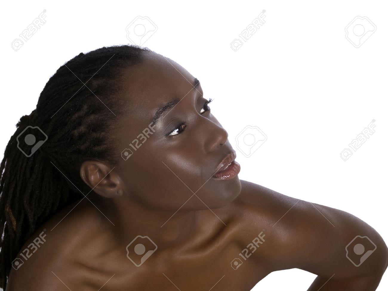 Exceptionnel Belle Femme Africaine Américain Portrait Nu épaules Banque D  HI71