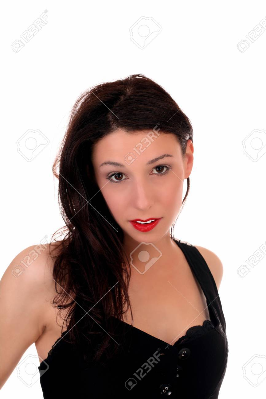 Black dress with red lipstick - Portrait Of Woman In Black Dress Red Lipstick Stock Photo 7263497