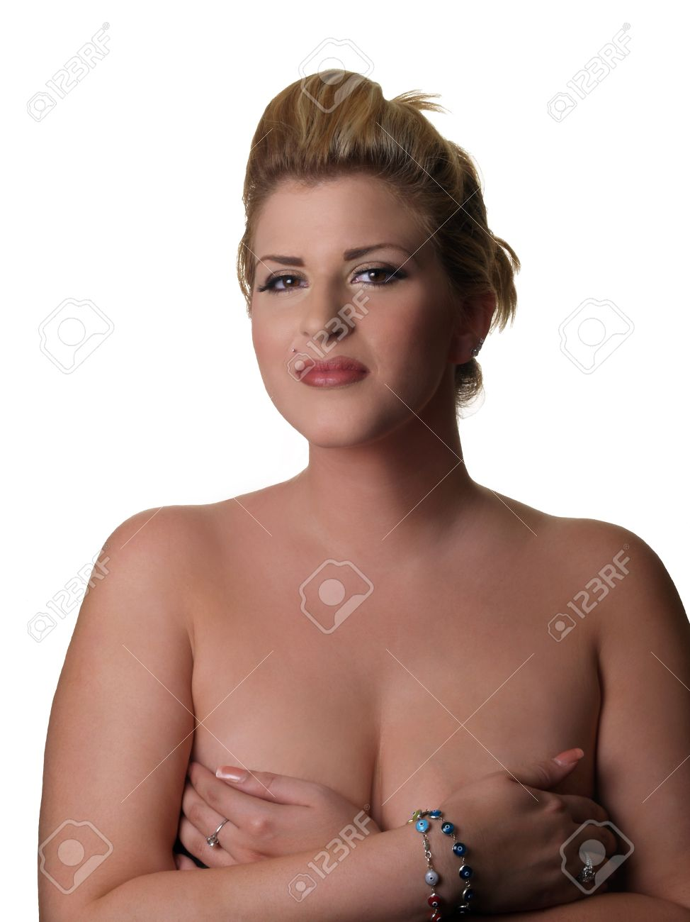 Plus-size Caucasian Model Topless Hands Covering Breasts Stock ...