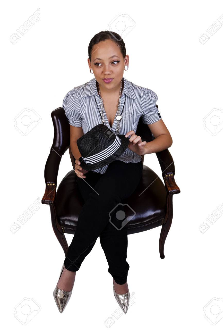 Stock Photo - Young Black Woman Sitting on Chair in Pants  sc 1 st  123RF.com & Young Black Woman Sitting On Chair In Pants Stock Photo Picture And ...