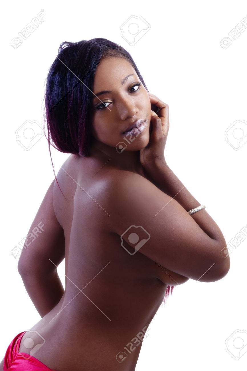 American Beauty Topless attractive african american woman topless breast covered