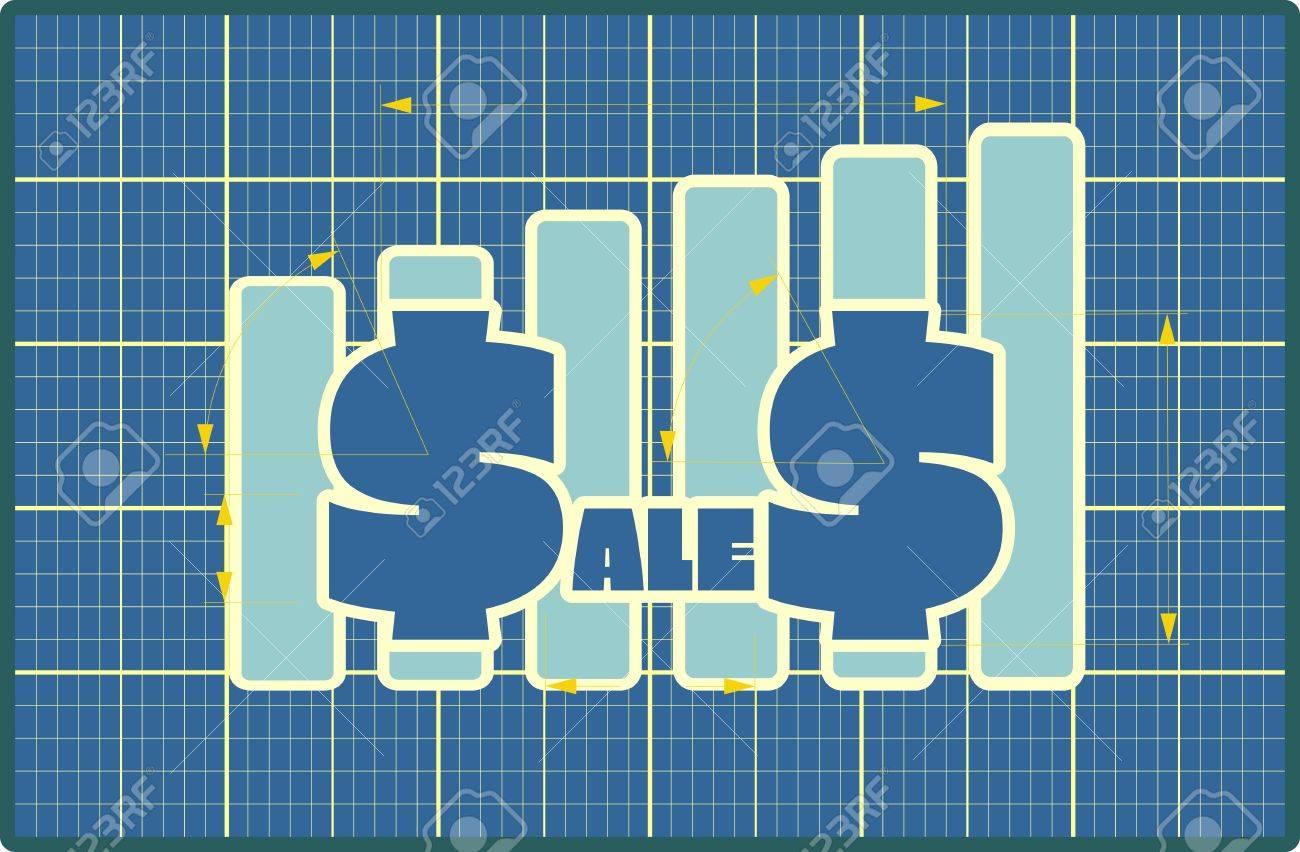 Blau Verkaufstext Auf Diagramm. Blueprint Design Umsatzentwicklung ...