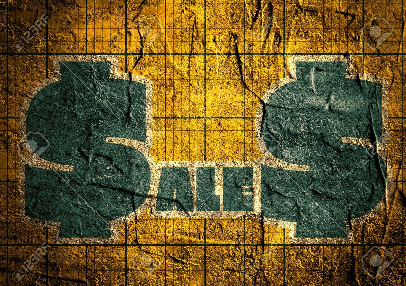 Blauer Verkaufstext Auf Gelber Konkreter Strukturierter Oberfläche ...