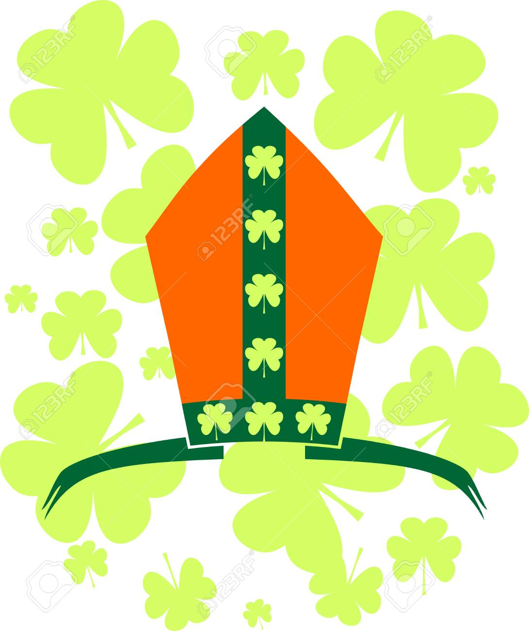 st patrick s day greeting card template bishop hat with shamrock