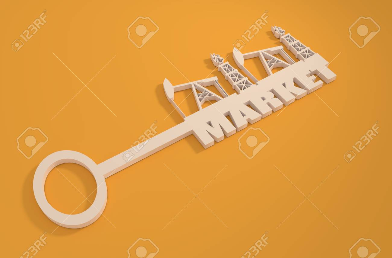 Key With Market Word And Mining Equipment Icons Oil And Gas Stock