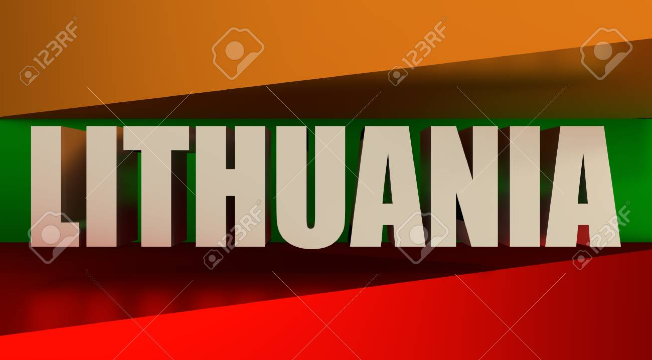 Lithuania Flags Design Concept. 3d Shapes And Country Name. Image ...