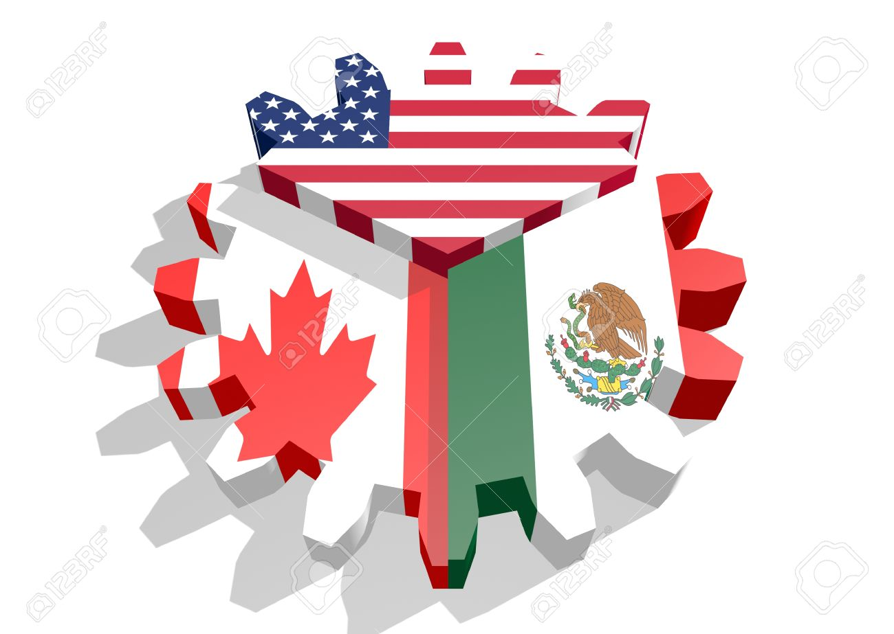 North American Free Trade Agreement Members Flags Stock Photo