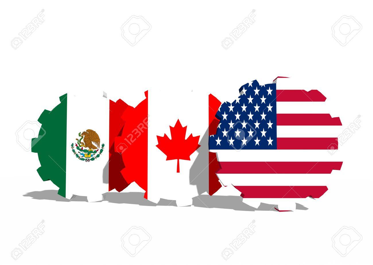 North American Free Trade Agreement Members Flags On Cog Wheels