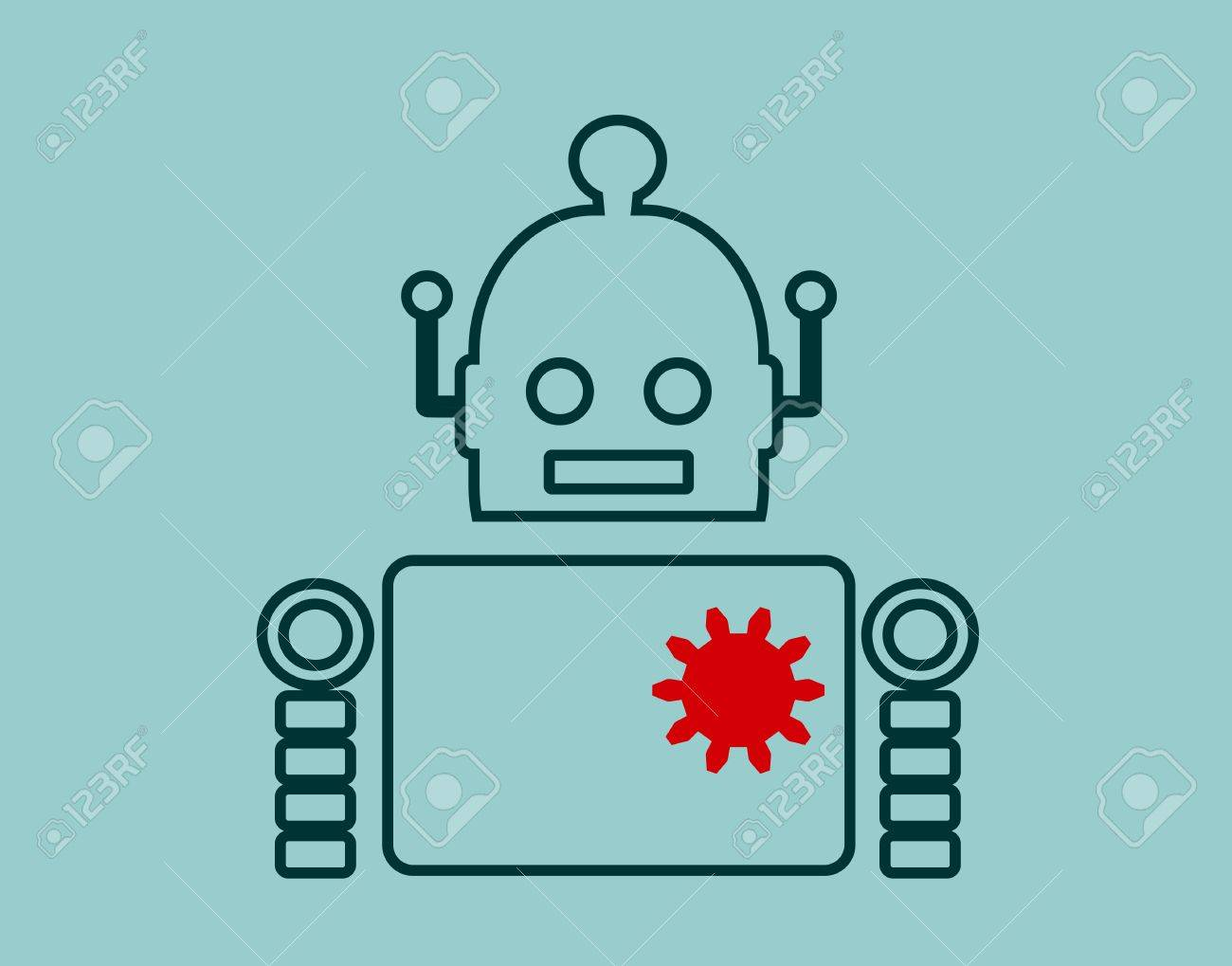 Cute Vintage Robot Robotics Industry Relative Image Outline