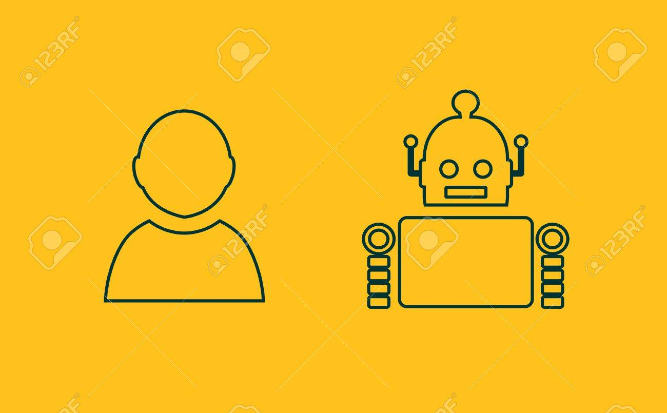 Cute Vintage Robot And Human Robotics Industry Relative Image