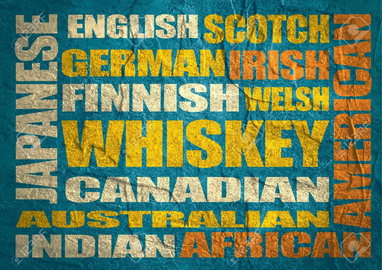 Verschiedene Getränke-Liste. Trinken Alkohol Getränk. Whiskey Wörter ...