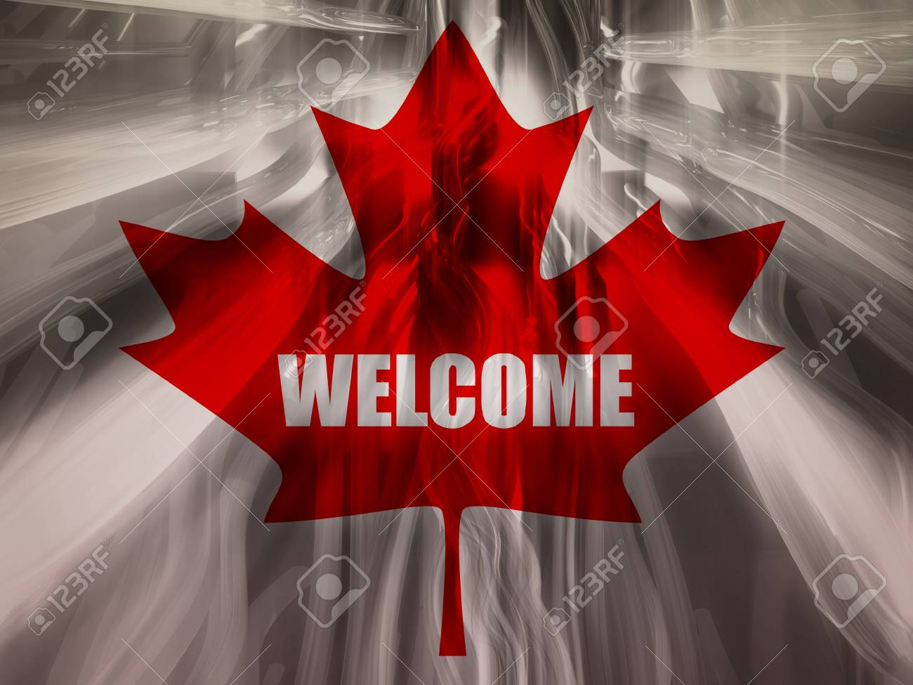 3470f69a58e From canada national flag elements background. Blurred backdrop and welcome  word. 3D rendering Stock