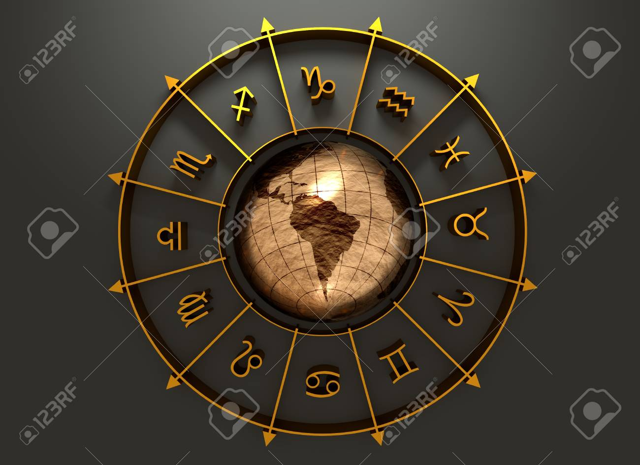 Golden astrological symbol in the circle earth globe in the golden astrological symbol in the circle earth globe in the center of the ring buycottarizona