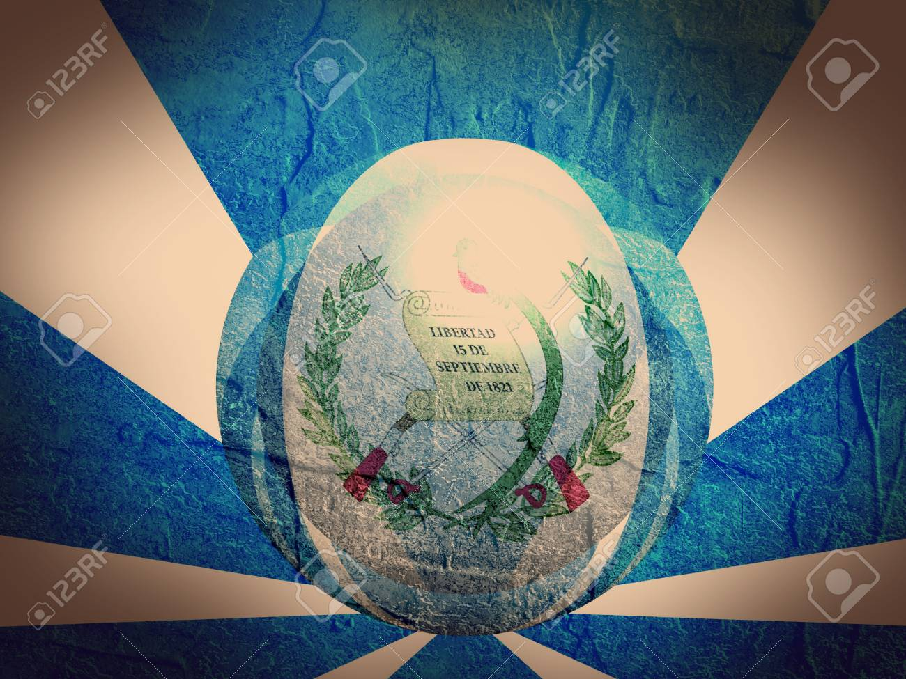 Guatemala flag design concept. Reflected sphere textured by flag...