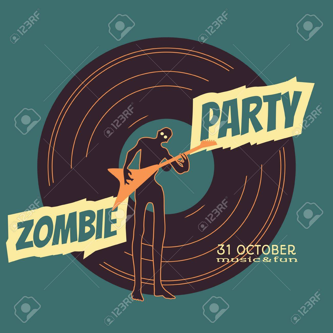 zombie party text and silhouette on vynil record backdrop. undead
