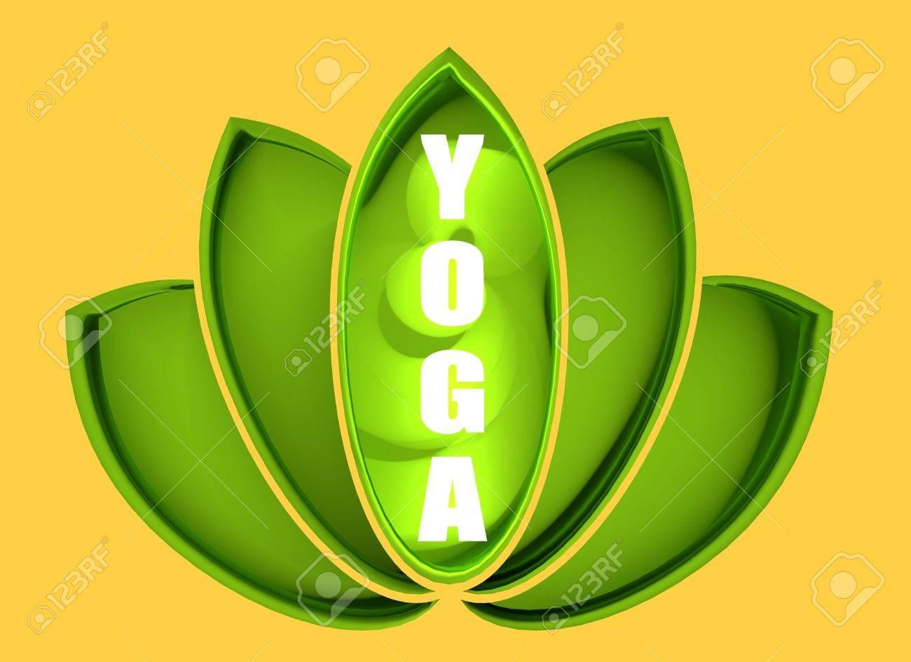 Lotus Flower Symbol 3d Rendering Make Yoga Text Neon Shine