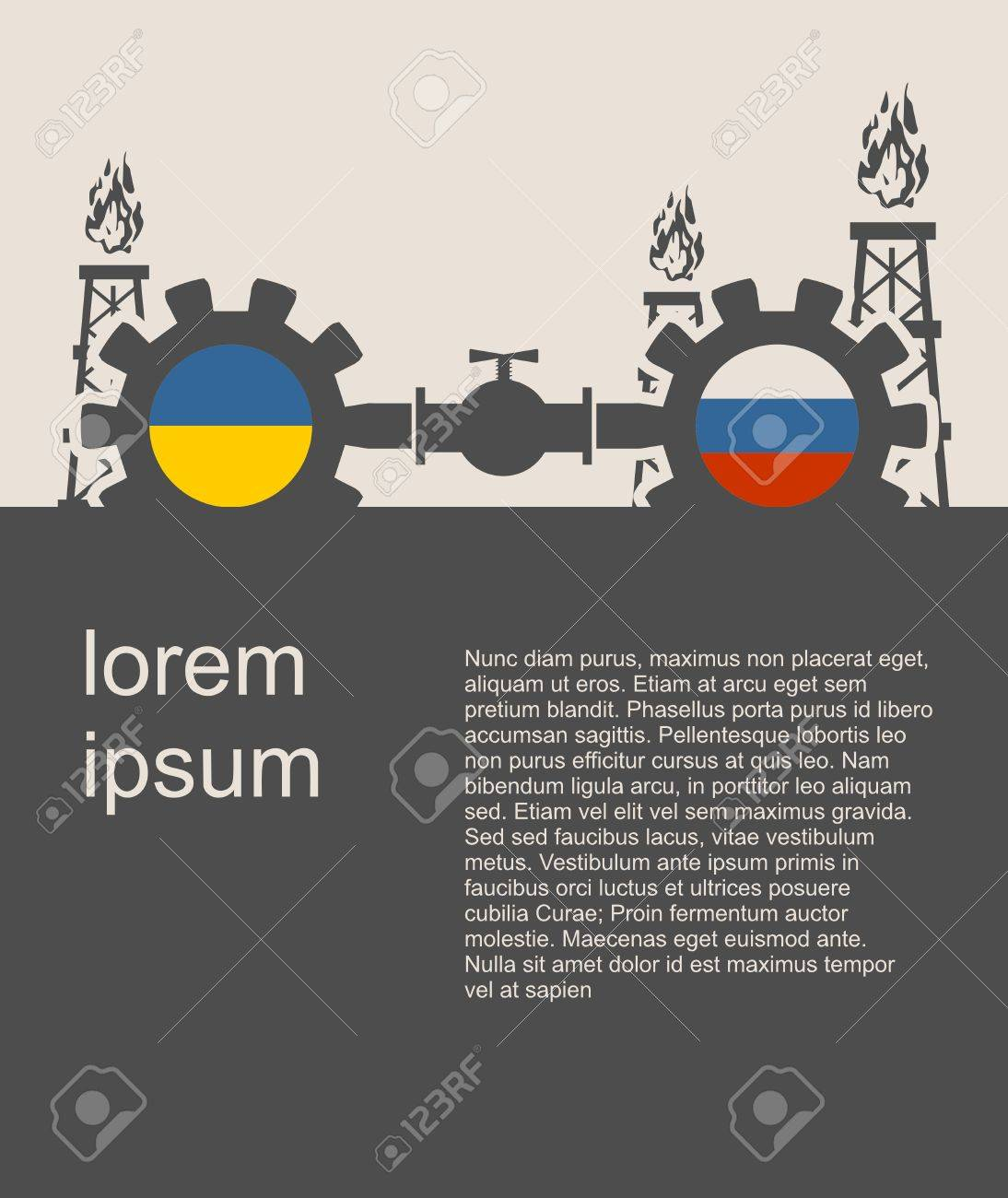 Imagen Relativa Al Tránsito De Gas De Rusia A Ucrania. Engranajes ...