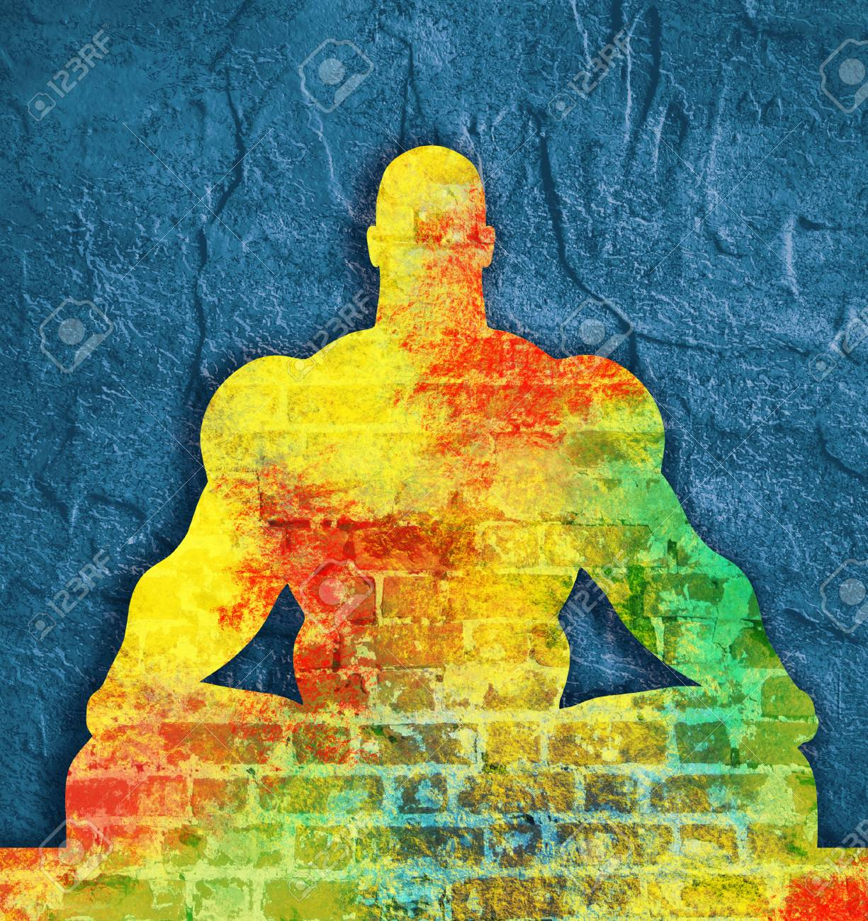 Muscular Man Sit In Meditation Pose. Cutout Silhouette. Ancient ...