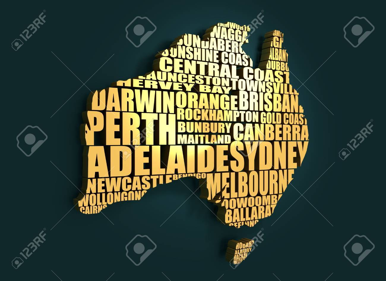 Map of australia made from cities list golden material 3d map of australia made from cities list golden material 3d rendering stock photo gumiabroncs Image collections