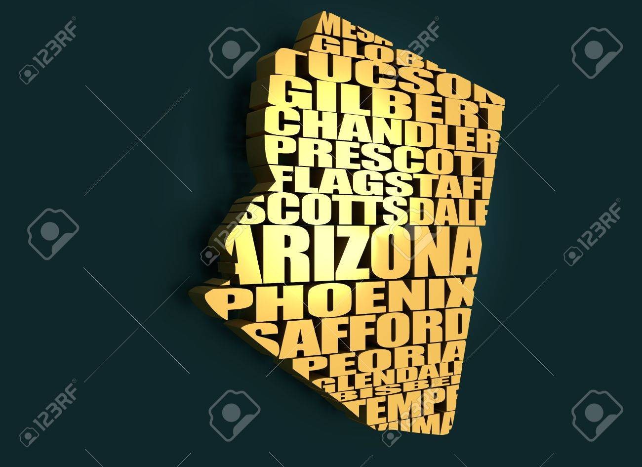3d Map Of Arizona.Word Cloud Map Of Arizona State Cities List Collage Golden