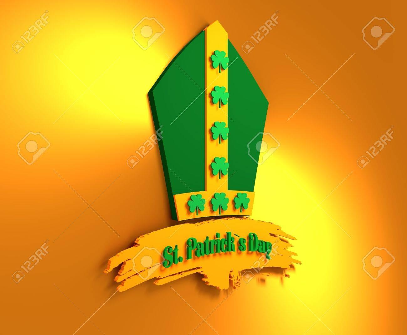 st patricks day greeting card template bishop hat with shamrock