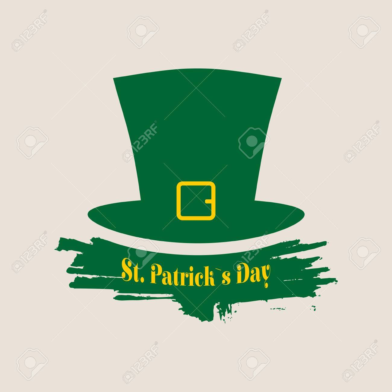 green st patricks day hat greeting card template vector