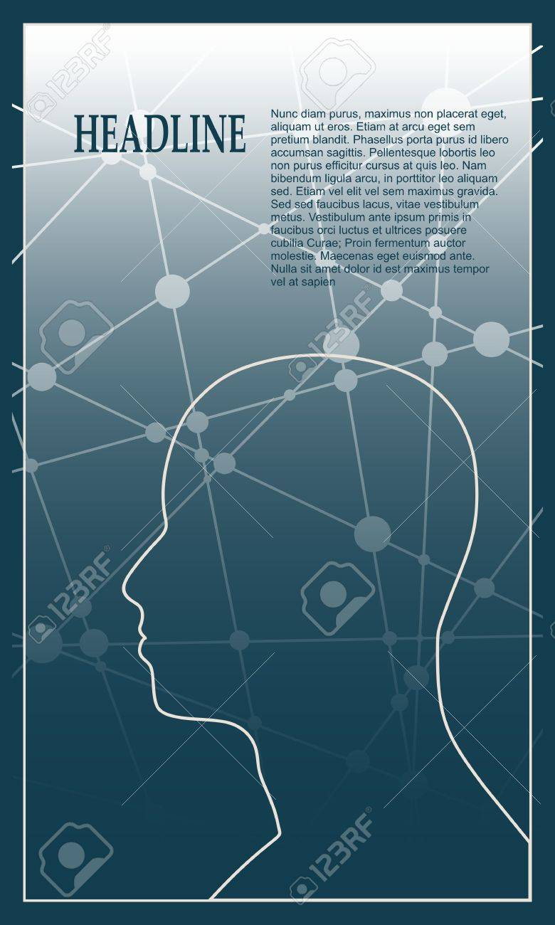 Profile Of The Head Of A Man. Mental Health Relative Vector Brochure ...