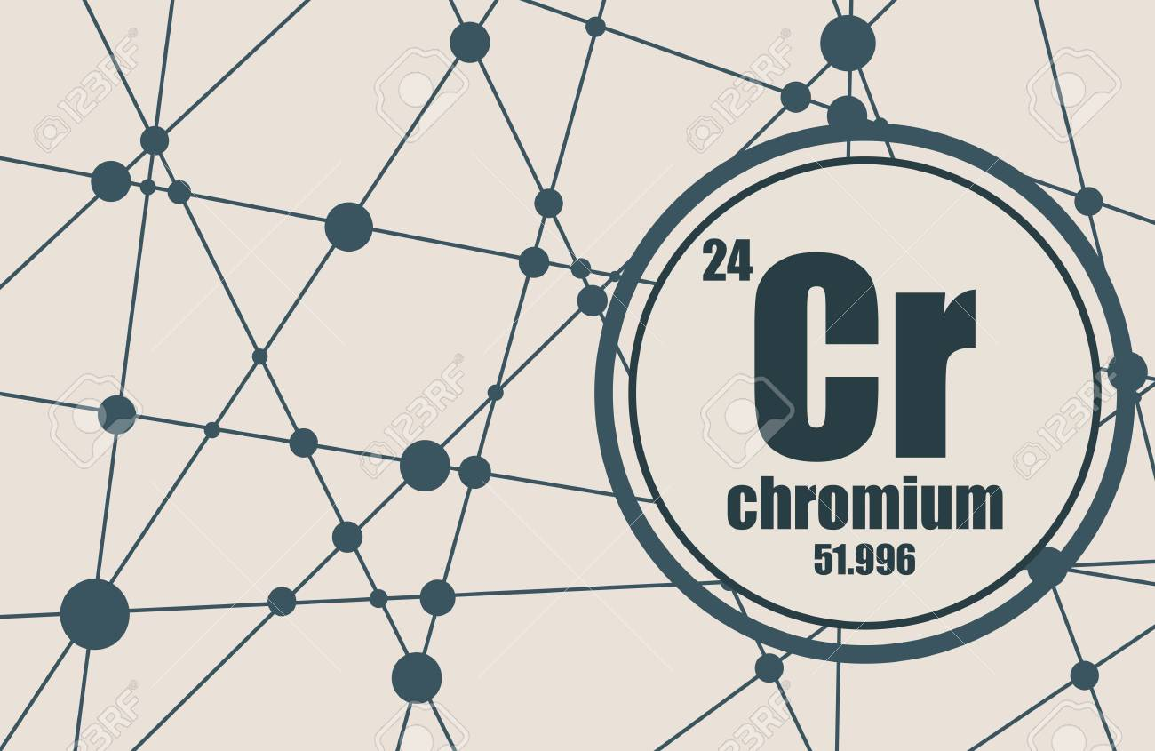 Chromium chemical element  Sign with atomic number and atomic