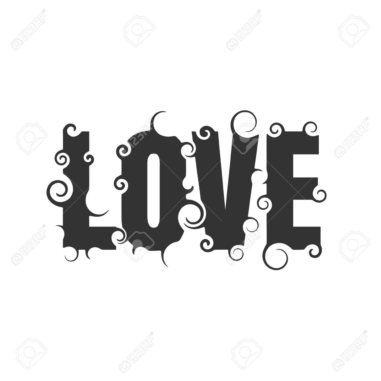 Vector Vector Lettering Il Ration With Love Word Typography Poster With Abstract Ornament Of Curls