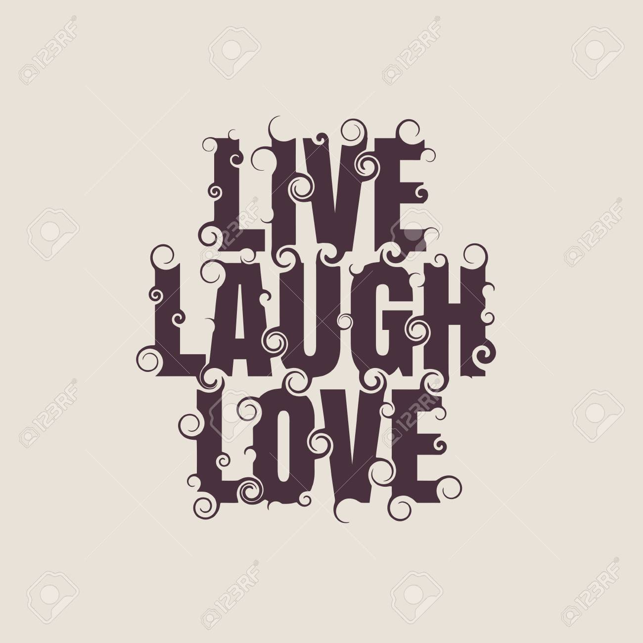 Live Laugh Love Quote Vector Lettering Illustration With Live Laugh Love Quote