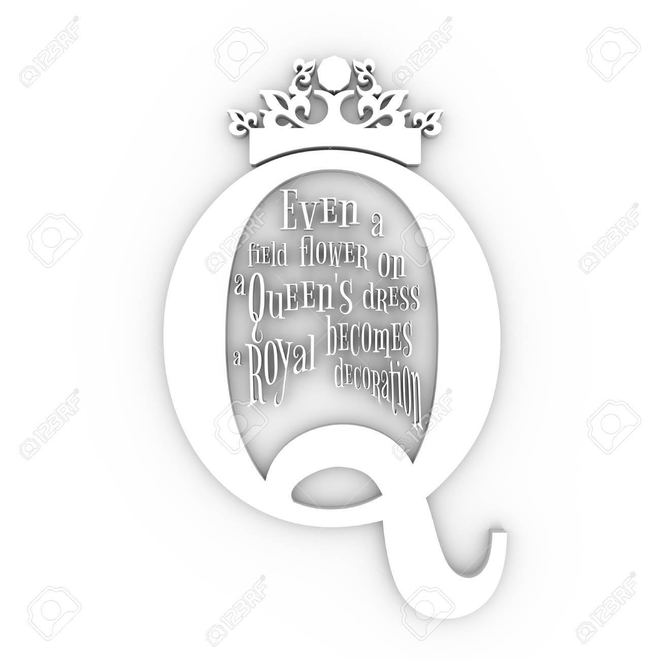 Vintage Queen Crown Silhouette. Royal Emblem With Q Letter. Quote ...