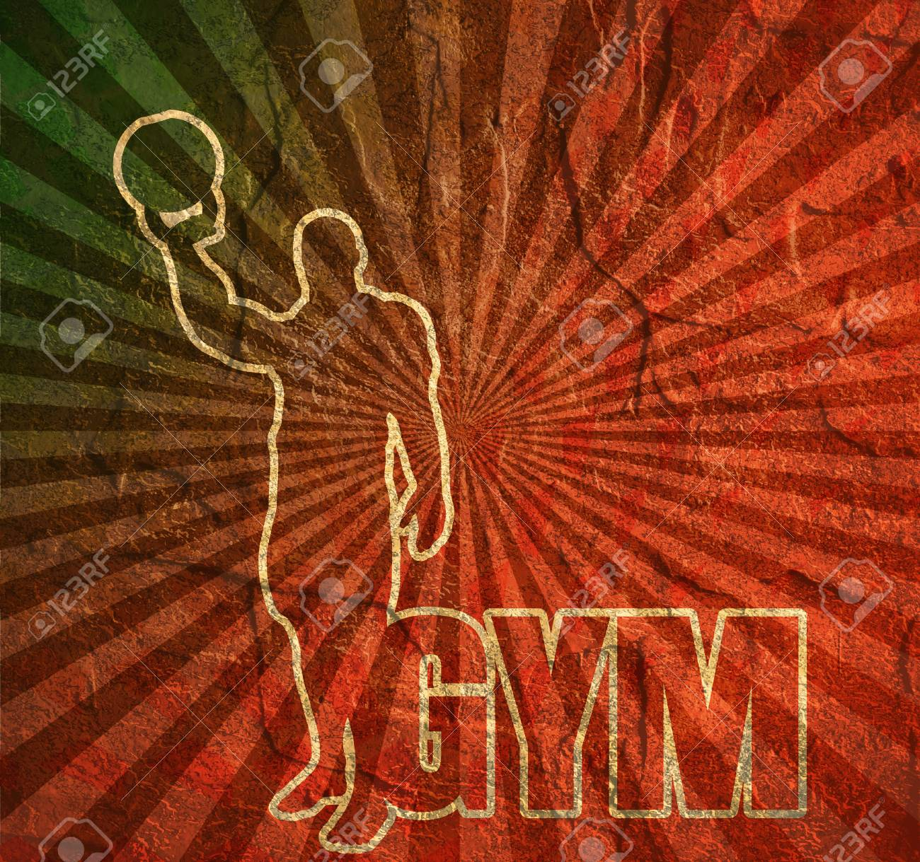 Bodybuilder With Kettlebell Outline Silhouette Gym Word Invitation