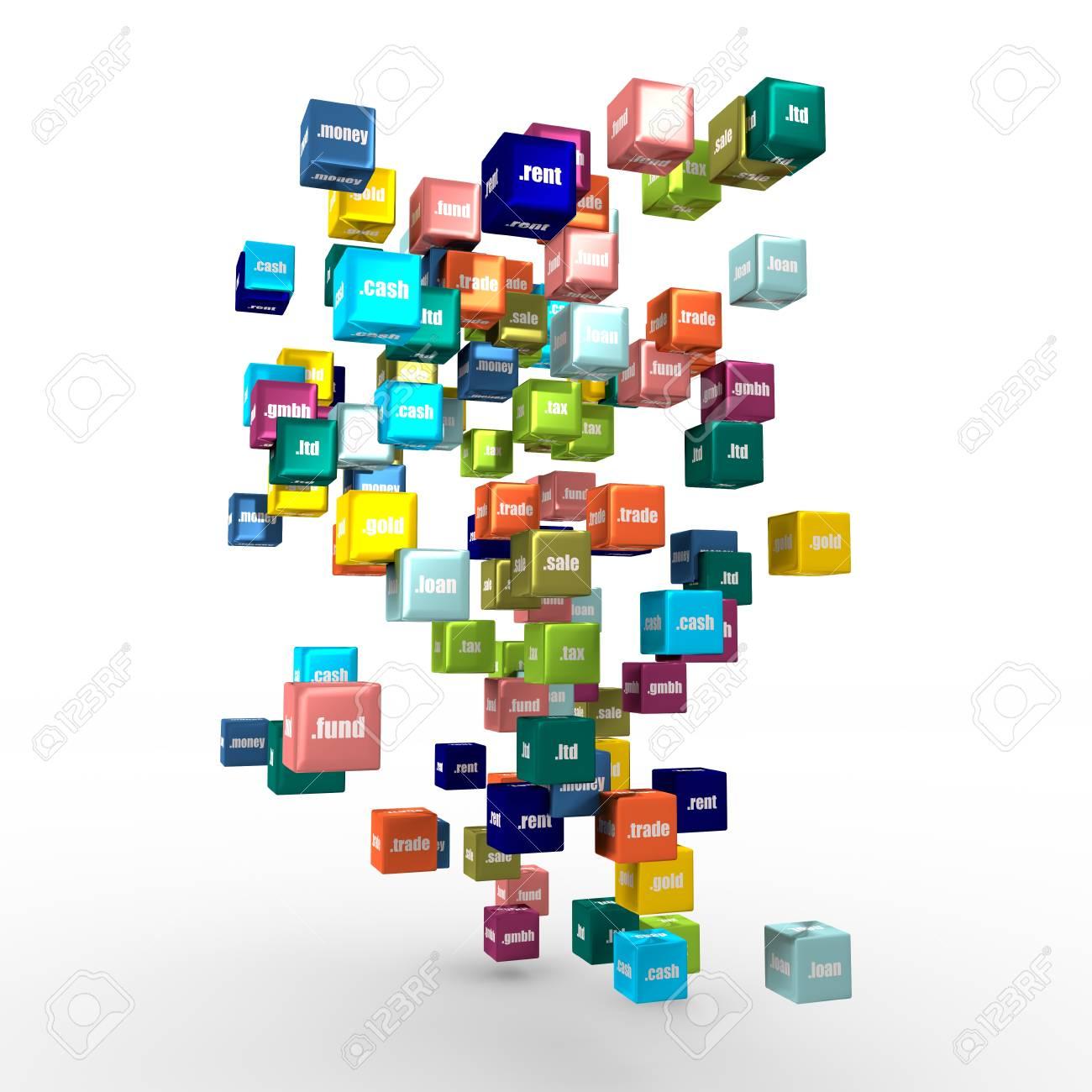 Domain names words on vibrant multicolored plastic reflective