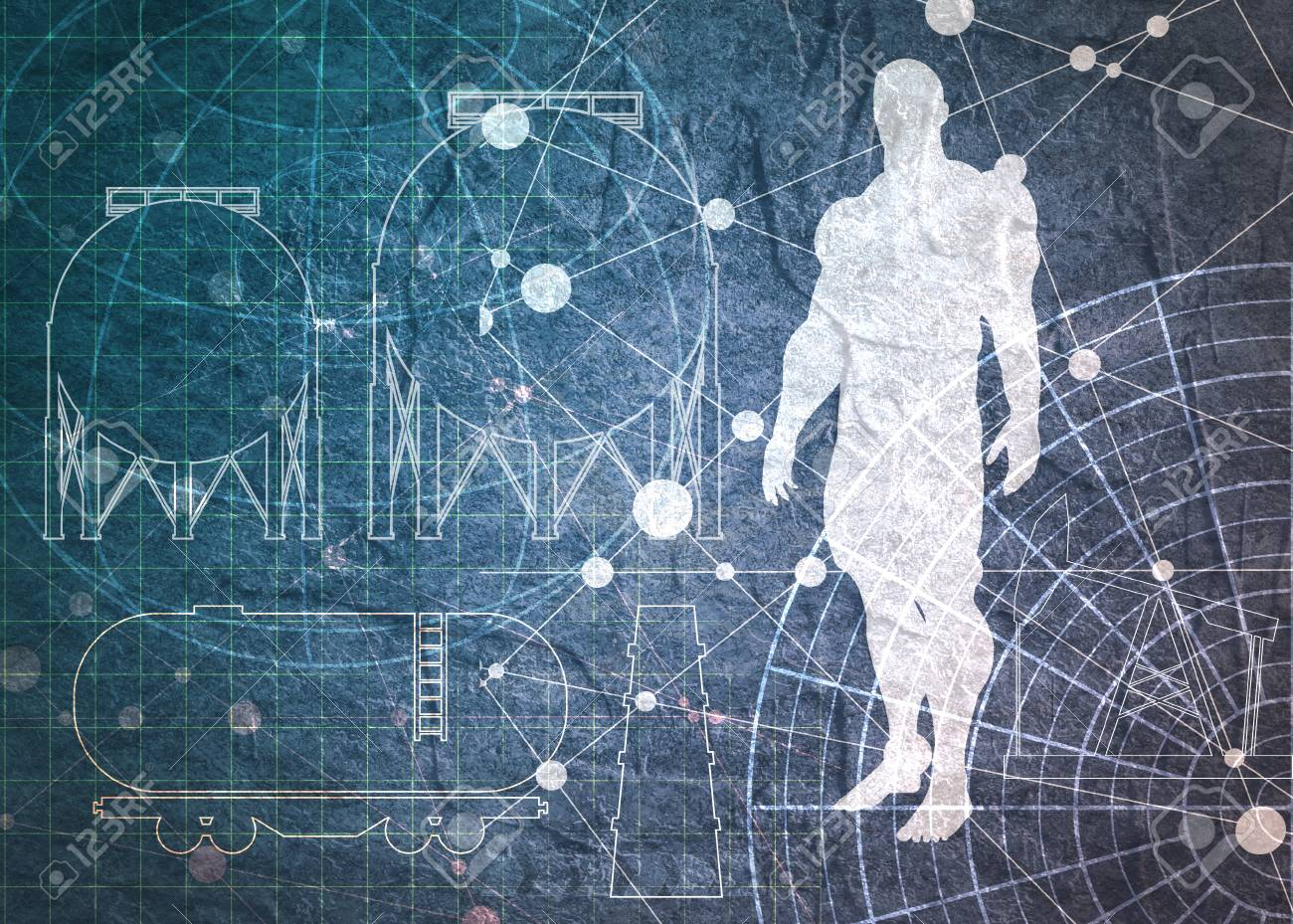 Old blueprint background texture technical backdrop paper man old blueprint background texture technical backdrop paper man and industrial icons silhouettes on concrete malvernweather Images