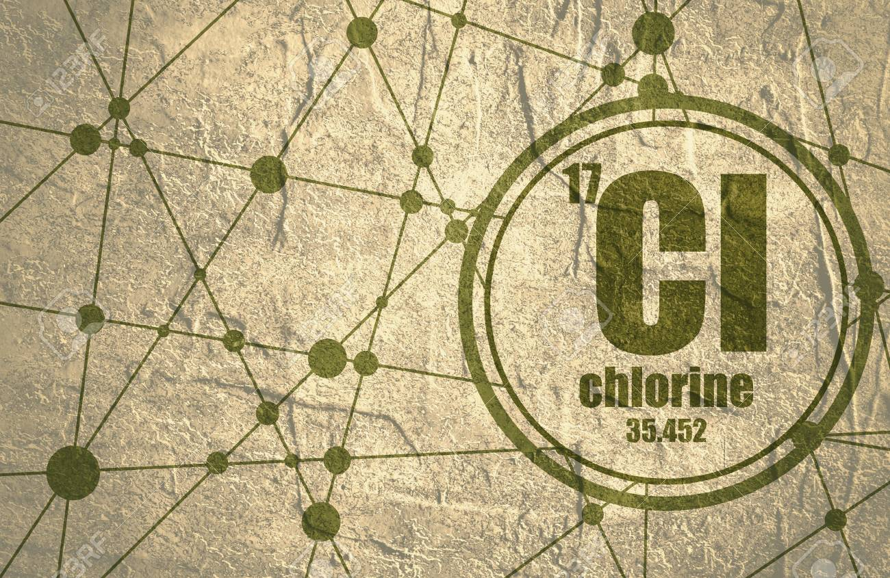 Chlorine Chemical Element Sign With Atomic Number And Atomic