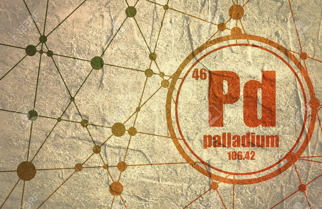 Palladium chemical element sign with atomic number and atomic palladium chemical element sign with atomic number and atomic weight chemical element of periodic urtaz Images