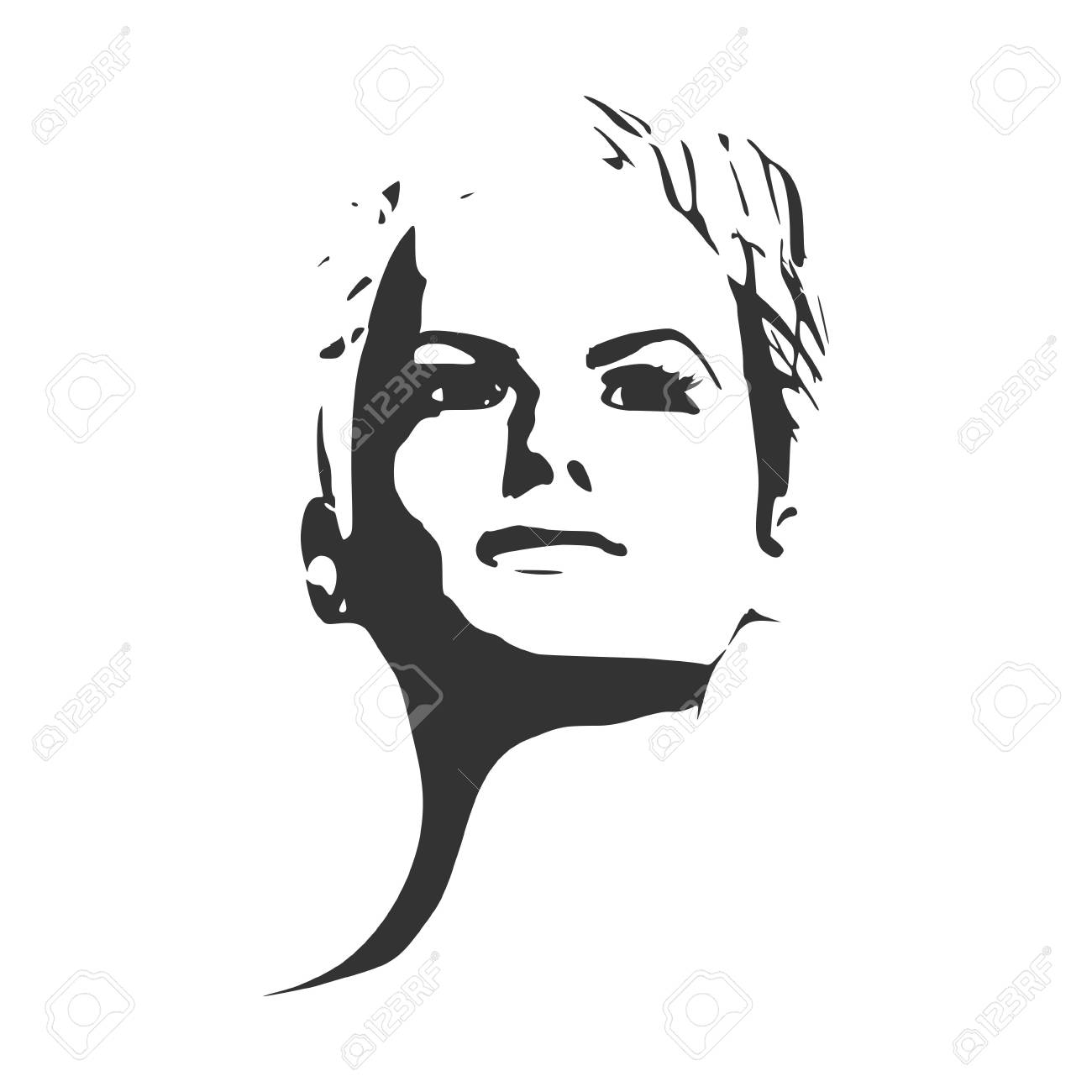 face front view elegant silhouette of a female head monochrome