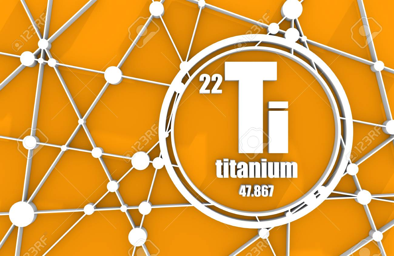 stock photo titanium chemical element sign with atomic number and atomic weight chemical element of periodic table