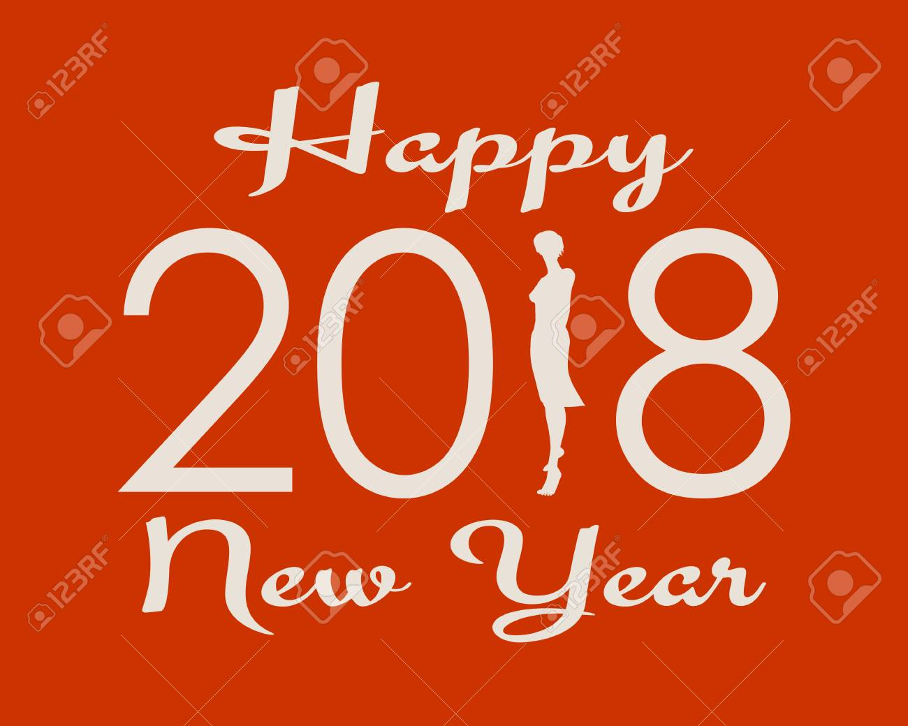 New Year Greeting Card Template 2018 Year Number And Happy New