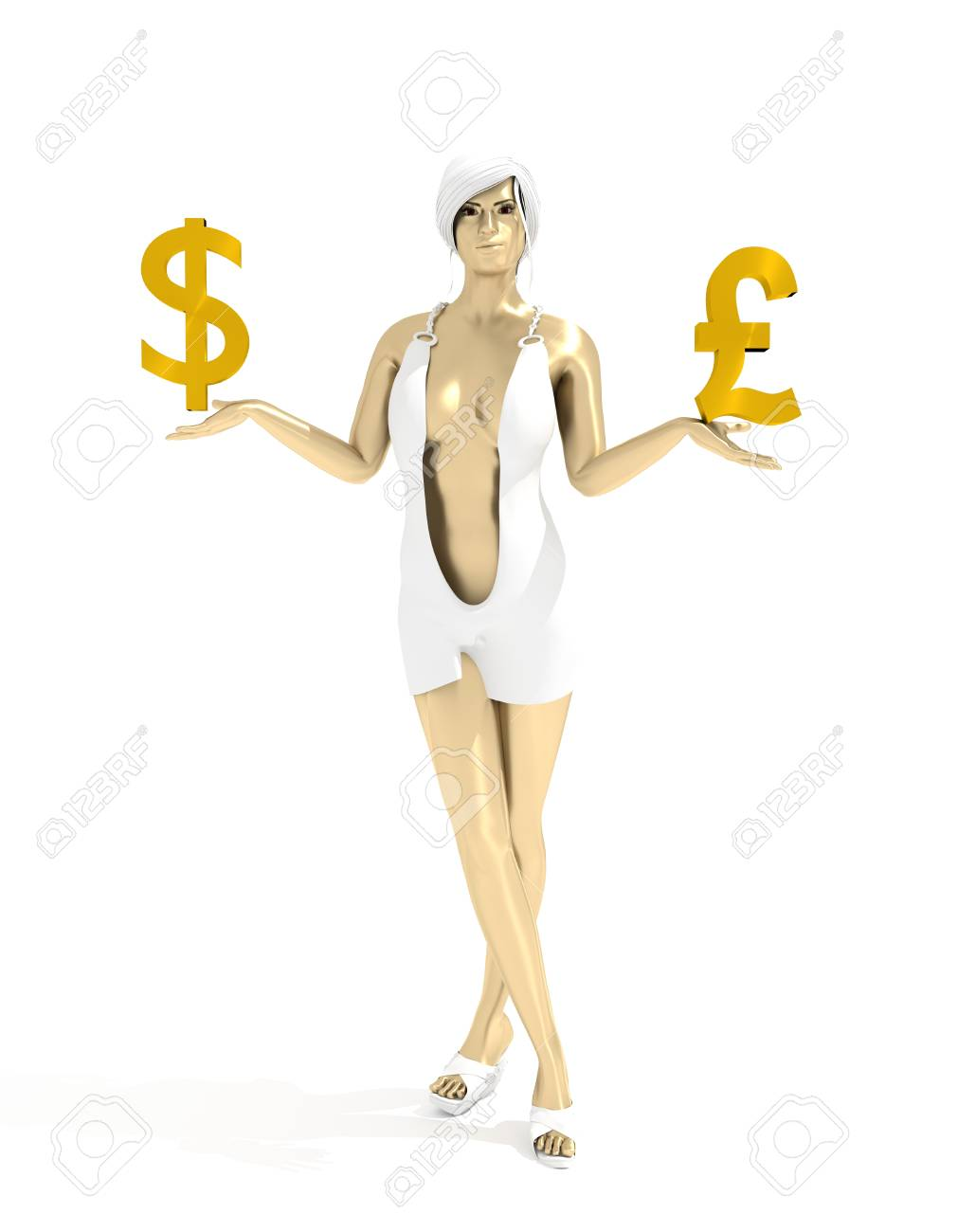 Young Lady Holding A Symbols Of Currency Pound And Dollar Money
