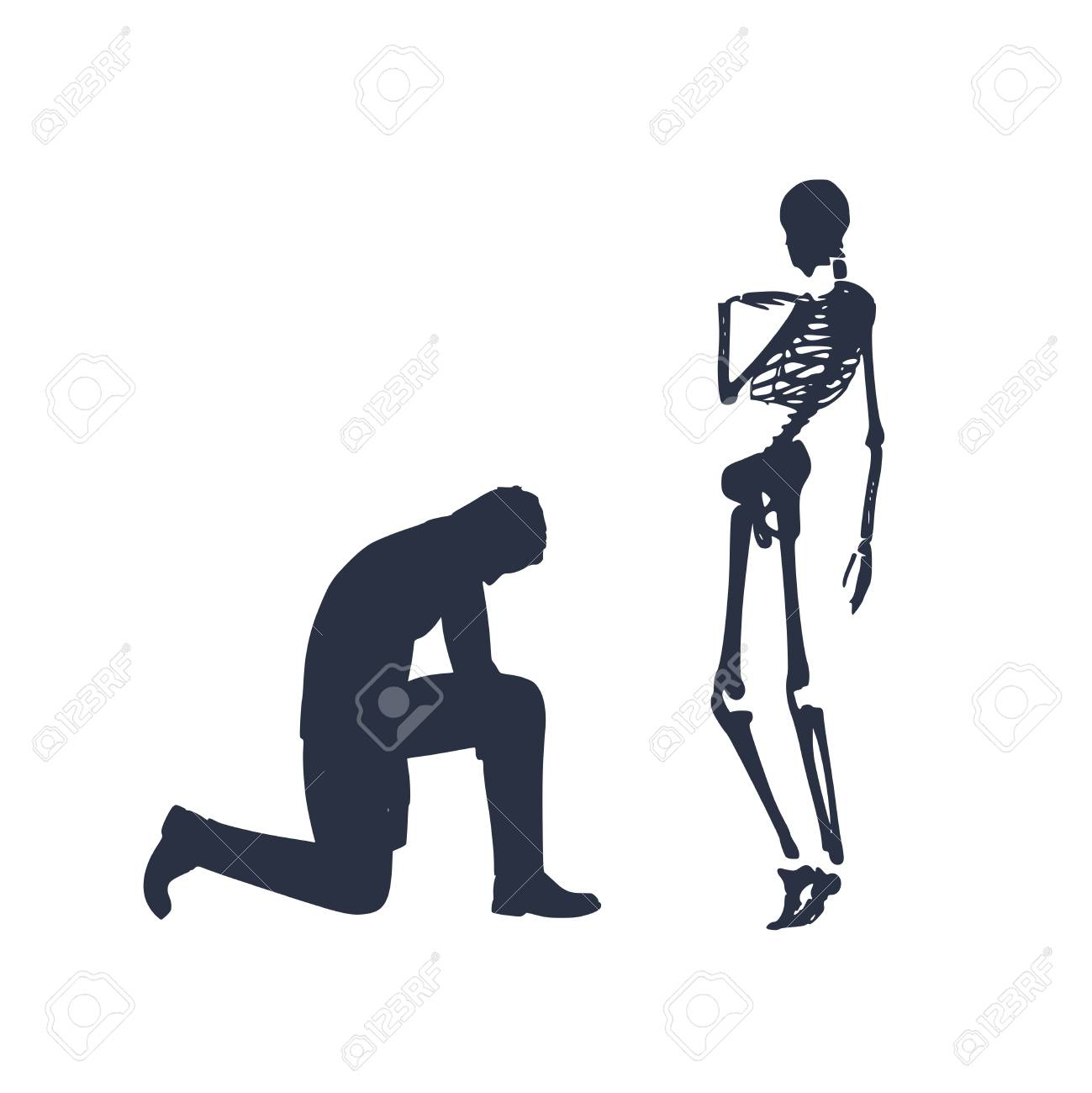 505b477a6 Silhouette of man in prayer pose. Man asking skeleton to forgive him. Stock  Vector