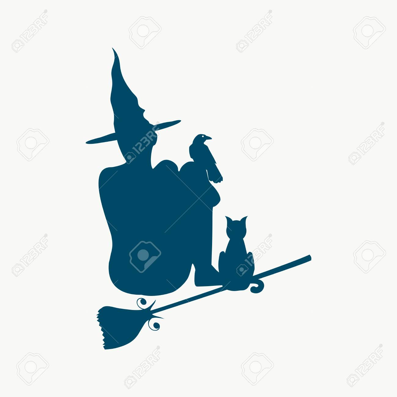 Illustration of sitting young witch. Witch silhouette with a broomstick, cat and raven. Halloween relative image - 108249831