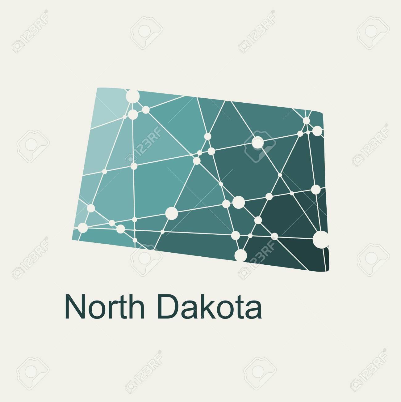 Image Relative To USA Travel. North Dakota State Map Textured ...