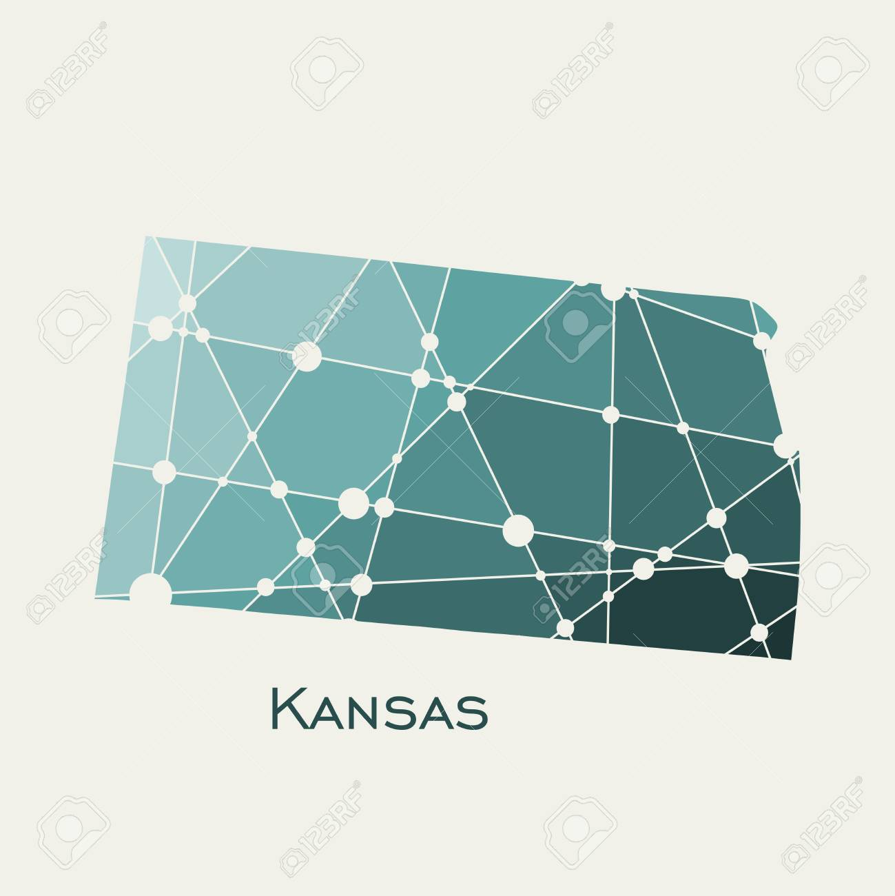 Image Relative To Usa Travel Kansas State Map Textured By Lines