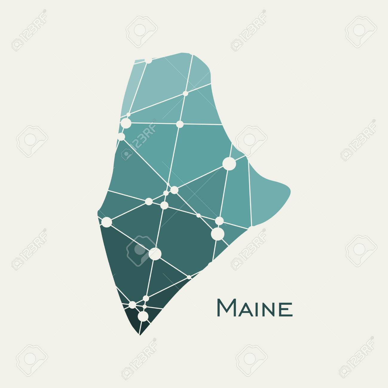 Image relative to USA travel. Maine state map textured by lines..