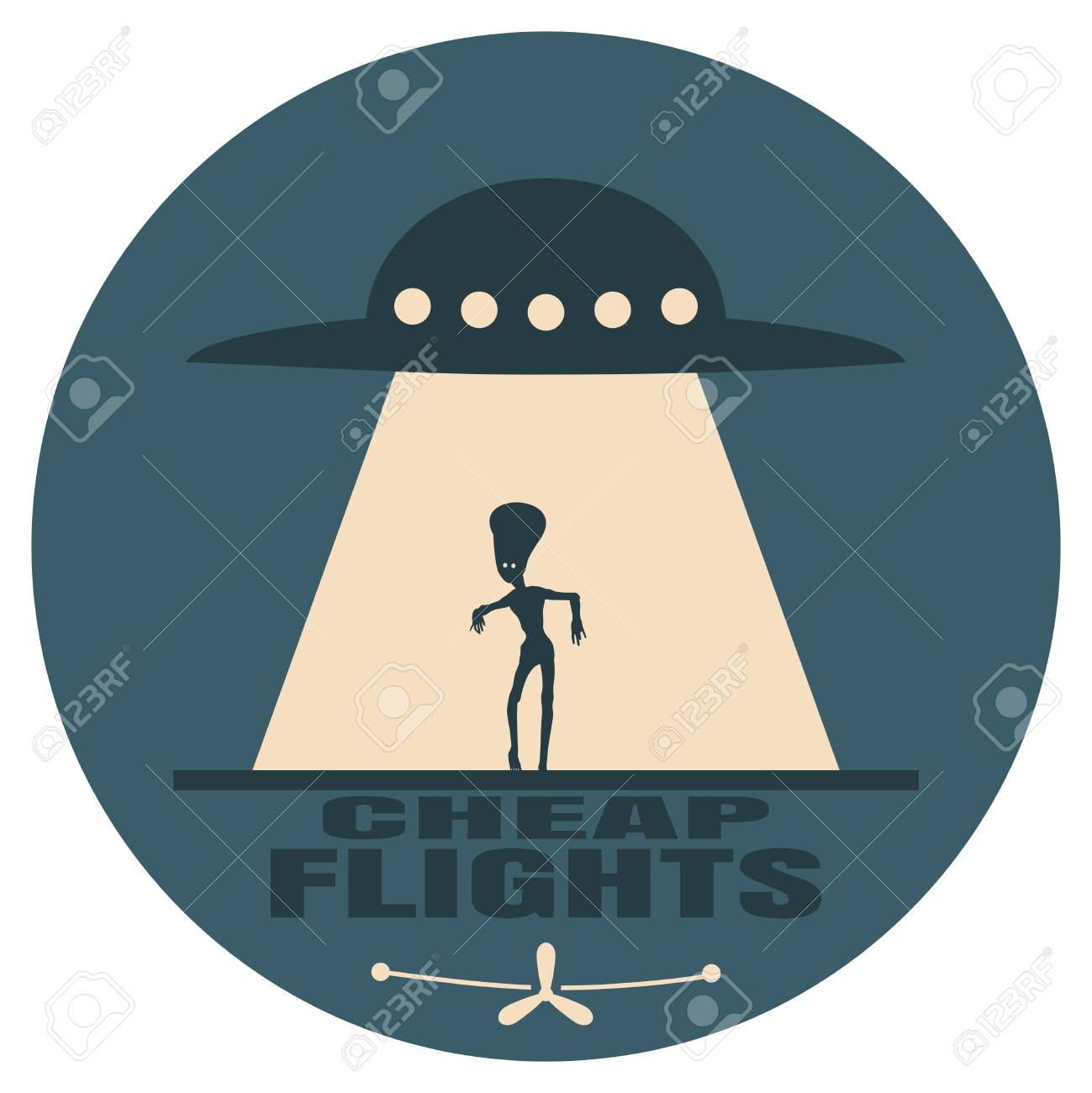 UFO and silhouette of extraterrestrial alien. Space ship UFO ray of light in the night sky. Cheap flights text. Image relative to airplane traveling - 126336501