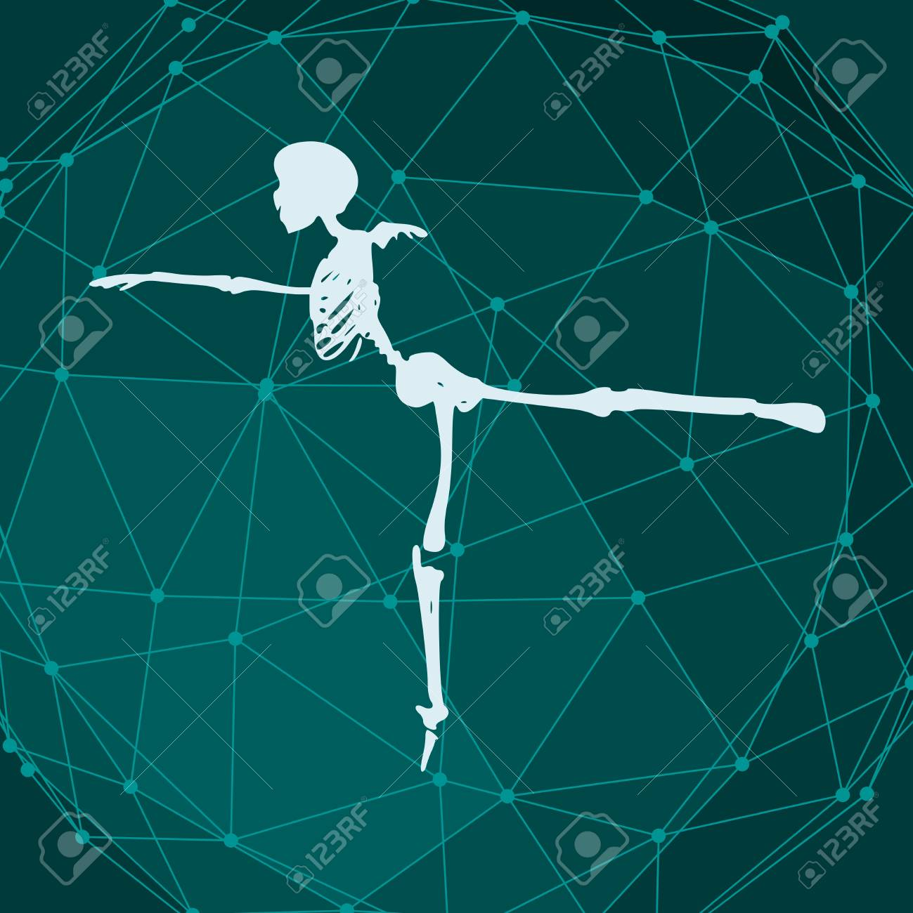 Human skeleton posing  Dancing pose  Halloween party design template