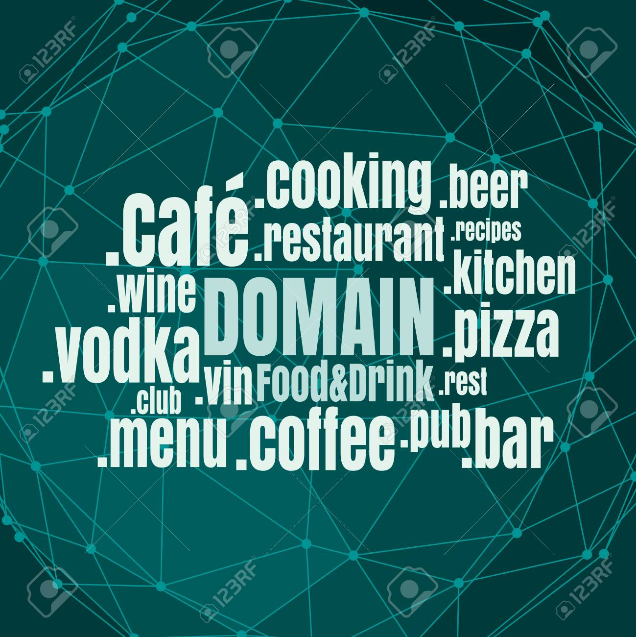 Domain names words cloud relative to food and drink theme. Internet and web telecommunication concept - 126287426