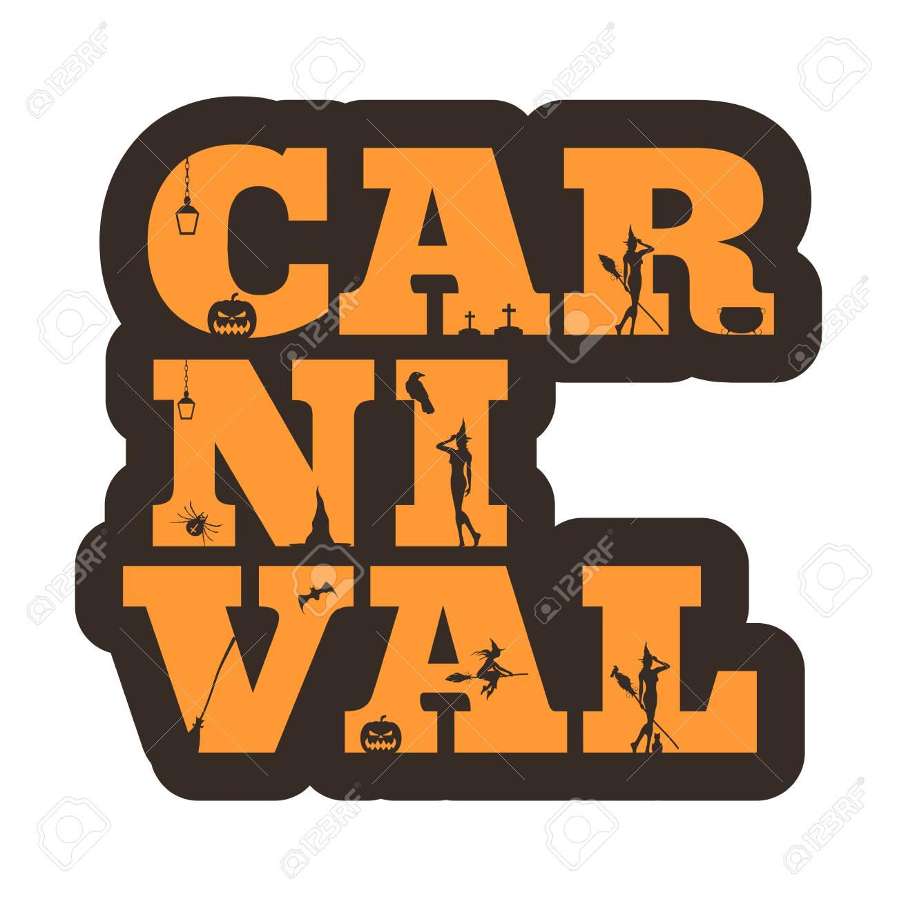Carnival Halloween Theme.Carnival Word And Silhouettes On Them Halloween Theme Sticker