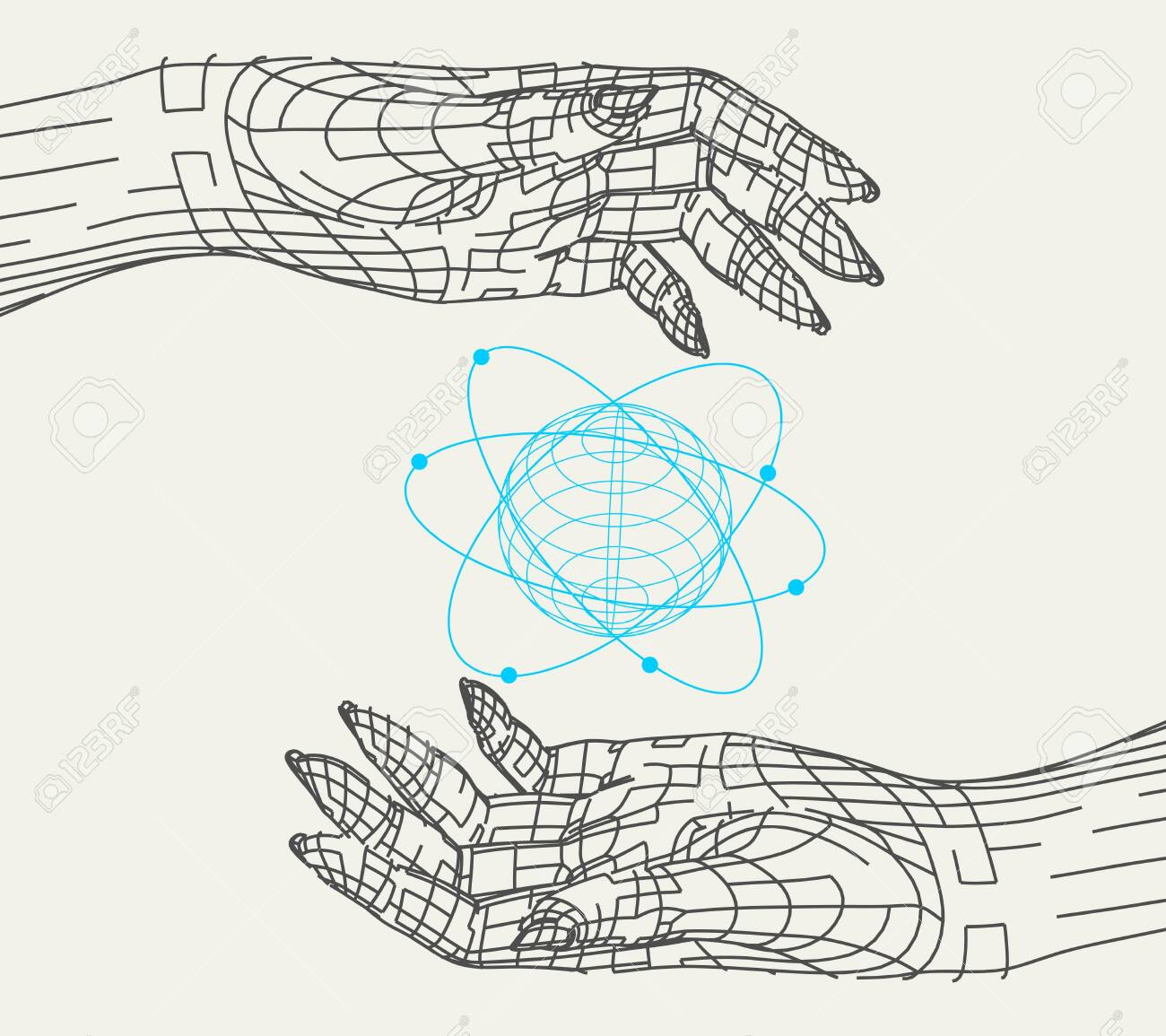 polygonal hands and atom model. wire frame style. 3d human parts. royalty  free cliparts, vectors, and stock illustration. image 129396781.  123rf